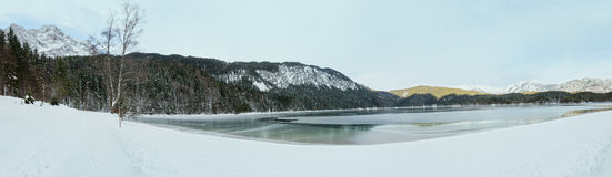 Eibsee lake winter view. Panorama. Royalty Free Stock Photography