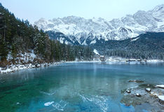 Eibsee lake winter view. Royalty Free Stock Images