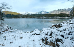 Eibsee lake winter view. Stock Photo