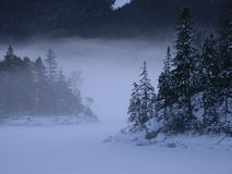 Eibsee no inverno Foto de Stock Royalty Free