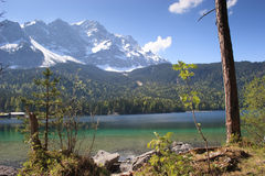 Eibsee, o lago da esmeralda na base de Zugspitze Imagem de Stock Royalty Free