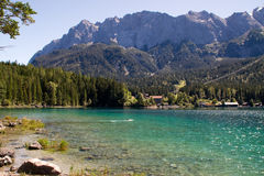 Eibsee with views of the alps Royalty Free Stock Photography