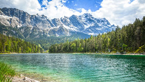 Eibsee Zugspitze imagen de archivo