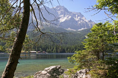 Eibsee with Zugspitze Stock Photography