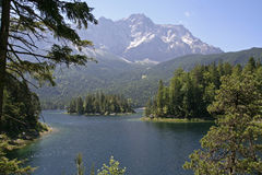 Eibsee with Zugspitze Royalty Free Stock Images