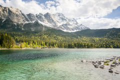 Eibsee Zugspitze Royalty Free Stock Photography