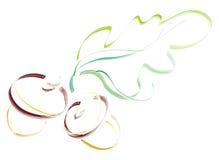 Eicheln mit Blatt. Künstlerische Abbildung Stockbild