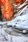 Eichen-Nebenfluss im Winter Lizenzfreies Stockbild