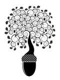 Eichenbaum, der von der Eichel wächst lizenzfreie abbildung