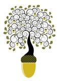 Eichenbaum, der von der Eichel wächst Stockfotografie