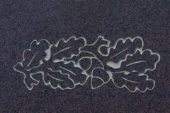 Eichenlaub und -eicheln auf Steinoberfläche lizenzfreie stockbilder