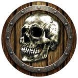 Eichenschild mit Schädel- und Metallbolzen Stockbild