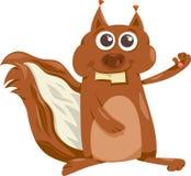 Eichhörnchen mit Nusskarikaturillustration Lizenzfreies Stockfoto