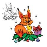 Eichhörnchen mit Weihnachtsgeschenk stock abbildung