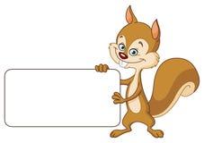 Eichhörnchen mit Zeichen Stockfotos