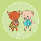 Eichhörnchen und Hund Stockbild
