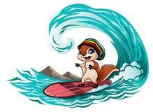 Eichhörnchen, welches die Wellen reitet Lizenzfreie Stockbilder