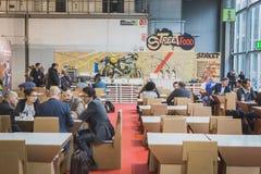 EICMA的人们2014年在米兰,意大利 免版税库存图片