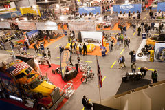 EICMA 2010 - Above view. MILAN, NOVEMBER 3: Above view at EICMA, 68th International Bicycle and motorcycle Exhibition in Milan Fair, November 2nd - 7th, 2010 Stock Photos