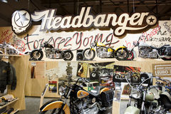EICMA 2010 - Headbanger stand. MILAN, NOVEMBER 3: Headbanger stand at EICMA, 68th International Bicycle and motorcycle Exhibition in Milan Fair, November 2nd Royalty Free Stock Photography