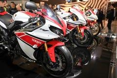 Eicma 2011, international motorcycle exhibition. Close-up of Yamaha racing Motogp and Superbike motorcycles in exhibition at Eicma, international motorcycle Stock Images