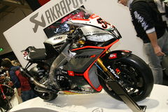 EICMA 2014. EICMA - 72 ° Motorcycling Worlds Fair - Milan 6-9 November 2014. Aprilia RSV4, led by Sylvain Guintoli, awarded title manufacturers and riders in Stock Photography