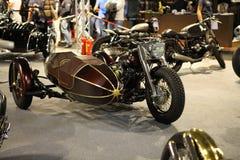 EICMA 2014. EICMA - 72 ° Motorcycling Worlds Fair - Milan 6-9 November 2014. sidecar custom woodwork on display Royalty Free Stock Photos