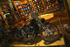 EICMA 2014. EICMA - 72 ° Motorcycling Worlds Fair - Milan 6-9 November 2014. stand customized motorcycles and helmets Stock Images