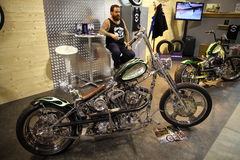 EICMA 2014. EICMA - 72 ° Motorcycling Worlds Fair - Milan 6-9 November 2014. stand Indian Larry Motorcycles, famous customizer of Brooklyn, NY Stock Photos