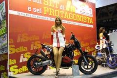 EICMA 2014. EICMA - 72 ° Motorcycling Worlds Fair - Milan 6-9 November 2014. stand of magazine in the saddle Stock Photos