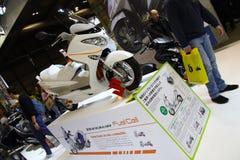 EICMA 2014. EICMA - 72 ° Motorcycling Worlds Fair - Milan 6-9 November 2014. Suzuki Burgman Fuel-Cell Scooter Tech Royalty Free Stock Photos
