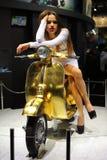 EICMA 2014. EICMA - 72 ° Motorcycling Worlds Fair - Milan 6-9 November 2014. Vespa Pollini Gold 23 carat Stock Photos