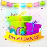 Eid穆巴拉克庆祝的贺卡 免版税库存图片