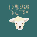 Eid穆巴拉克贺卡 Eid AlAdha 牺牲海报的节日 库存照片