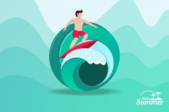 Summer time surfing royalty free illustration