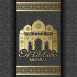 Eid Al Adha Background. Mosque and Islamic Arabic window. Greeting card Royalty Free Stock Photo