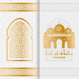 Eid Al Adha Background. Mosque and Islamic Arabic window. Greeting card Stock Photography
