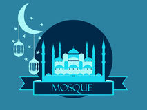 Eid al adha, blue mosque, minaret, lantern and moon, muslim holiday lights on a white background. Vector illustration Stock Images