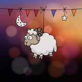 Eid al Adha card. Hand drawn sheep with party flags, the moon, and star. Vector illustration for the Muslim holiday of sacrifice Stock Photo