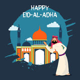 Eid-Al-Adha celebration with arabian man and mosque. Royalty Free Stock Image