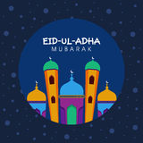 Eid-Al-Adha celebration with colorful mosque. Royalty Free Stock Image
