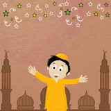 Eid-Al-Adha celebration with cute boy and mosque. Cute islamic boy in front of mosque on colorful stars decorated background for muslim community festival of Stock Images