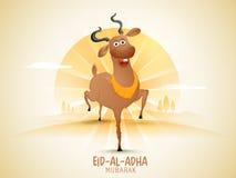 Eid-Al-Adha celebration with goat. Illustration of a happy goat on rays background for Muslim community Festival of Sacrifice, Eid-Al-Adha celebration Royalty Free Stock Image
