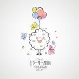 Eid-Al-Adha celebration with goat. Illustration of sheep with colorful balloon on grey background for Islamic Festival of Sacrifice, Eid-Al-Adha celebration Royalty Free Stock Photography