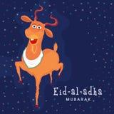 Eid-Al-Adha celebration with goat. Illustration of goat on stylish blue background for Islamic Festival of Sacrifice, Eid-Al-Adha celebration Stock Photography