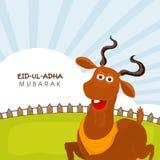 Eid-Al-Adha celebration with goat. Muslim community festival of sacrifice, Eid-Ul-Adha Mubarak with illustration of a goat on nature background Royalty Free Stock Photos