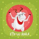 Eid-Al-Adha celebration with goat. Muslim community festival of sacrifice, Eid-Ul-Adha Mubarak with illustration of a goat on stylish background Royalty Free Stock Images