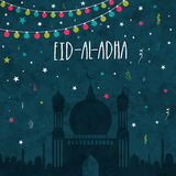Eid-Al-Adha celebration with Mosque. Creative Mosque on colorful lights and stars decorated grungy background for Islamic Festival of Sacrifice of Eid-Al-Adha Stock Images