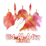 Eid-Al-Adha celebration with mosque. Royalty Free Stock Image