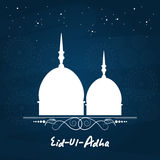 Eid-Al-Adha celebration with mosque. White silhouette of mosque on seamless blue background for muslim community festival of sacrifice, Eid-Ul-Adha celebration Stock Images